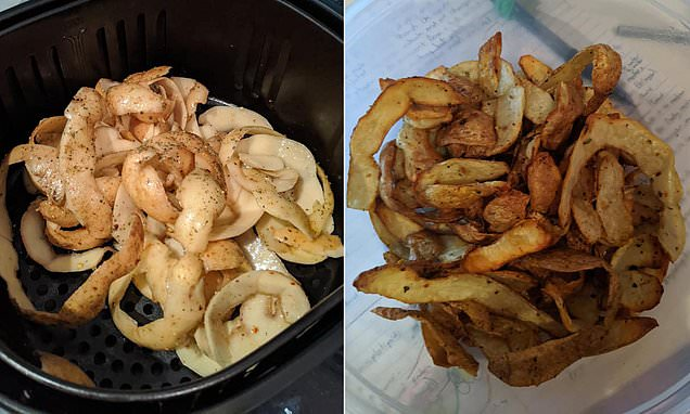 Best Air Fryer – Sydney mother makes potato skins into hot chips by coating them in oil and crisping in an air fryer