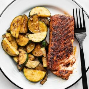 Rice Cooker Recipes Blackened Salmon with Zucchini